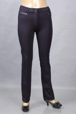 Прямые трикотажные брюки темно-синего цвета